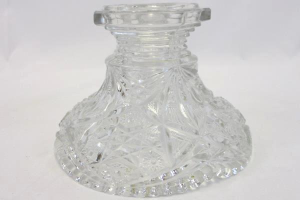 Swedemom Vintage Starburst Pattern Clear Glass Decorative Pedestal