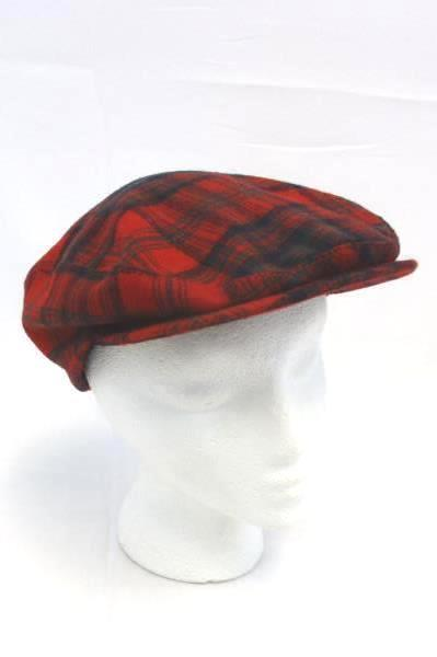 f81e77aa3fb Pendleton Newsboy CAP HAT Golf Cabbie Virgin Wool Bright Red Plaid Small  Vintage