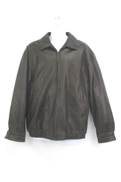 a46c5c484 SwedeMom - Men's Genuine Leather Coat St. John's Bay Zip Up Bomber ...