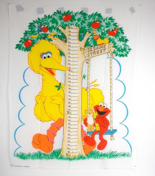 Swedemom Vtg Spectrix Sesame Street Kids Growth Chart Fabric