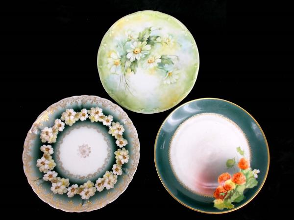 Lot of 3 Antique Collector Plates Green Floral Bareuther Hutschenreuther Iris & SwedeMom - Lot of 3 Antique Collector Plates Green Floral Bareuther ...