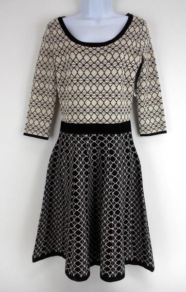 54419b9b8d8 DANNY AND NICOLE Geometric Black Ivory Sweater Dress Fit Flare Sz Small ~NEW