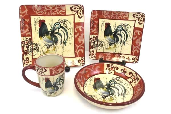 SwedeMom - 4 Pcs RED Certified International Tuscan Rooster Place ...