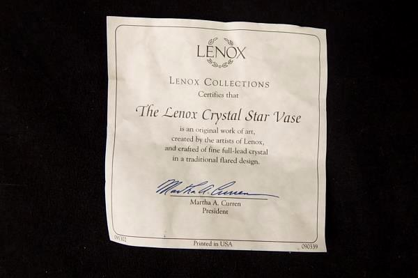 Swedemom Lenox 6 Crystal Star Vase With Certificate