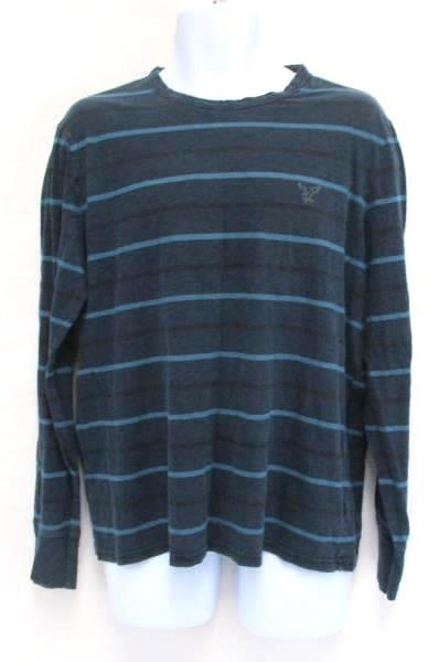 eee4231b52e Denim Layered Look American Eagle Outfitters Striped Shirt Button Up Mens L