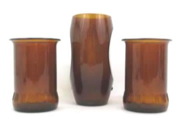 Swedemom 3 Vintage Amber Colored Glass Vase Pillar Candle Holders
