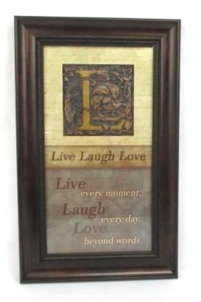 Lot Of 3 Wall Decor Plaques Live Laugh Love Framed Art