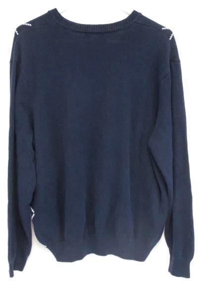 7ae56702d790 Club Room Blue White Diamond Argyle Long Sleeve Knit V Neck Sweater Mens L