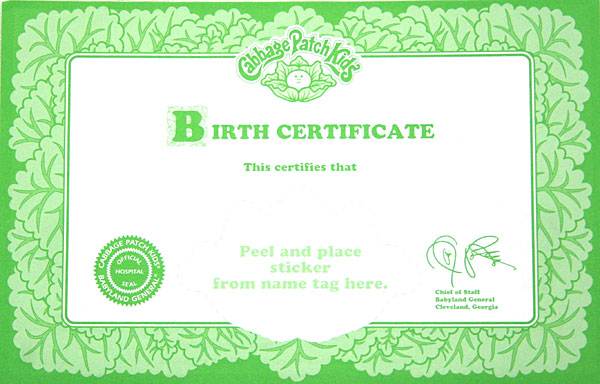 Cabbage patch kid ballerina pink tutu 1995 ebay for Cabbage patch birth certificate template