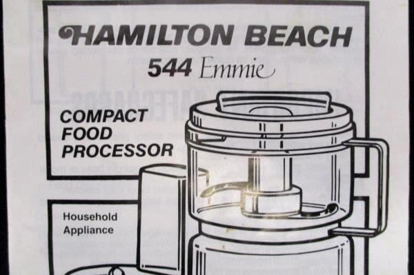 Hamilton Beach Scovill Food Processor Manual