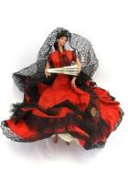 Grain Espana Milagros Doll (Miracle) Black Red Large Hoop Dress Hand Fan 11.5