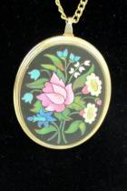 Retro Necklace Pendant Large Oval with Floral Bouquet 26 Gold Plated Chain