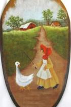 Antique Folk Art Wooden Kitchen Spoon Hand Painted Wall Hanging 15.5