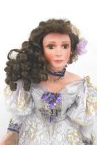 26 Porcelain Doll Rualie Curls Sequins Purple Formal Dress Rhinestones Stand