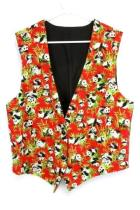 Handmade Panda Bear Vest Womens Large ~ Bamboo Red Black 2 Button