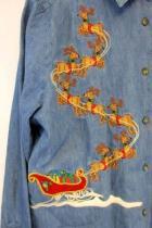 Women's Denim CHRISTMAS Shirt Embroidered Reindeer Sleigh Jean Cute Ugly M