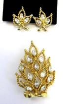 Vintage Signed Napier Rhinestone Brooch Pin & Matching Clip On Earrings Estate