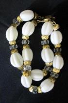 Napier Signed Jewelry Set Necklace Bracelet Earrings White Gold Glass Beads ~VTG