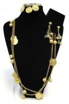 Vtg Napier Signed Zodiac 60 Necklace 3 Bangle Bracelets Earrings Gold Beads