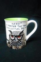 Hoots N Howlers Owl Coffee Cup Mug Nerd? Intellectual Bad Ass Green Glasses