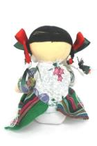 Handmade Cloth Spanish Latin American Doll Braids Dress