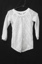 AJ Andrea Jovine White 3/4 Sleeve Chunky Open Cable Knit Sweater Womens XS
