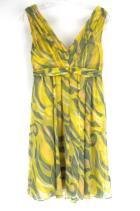 Anthropologie POSTMARK 9-H15 STCL Retro Print Yellow Green Dress 100% Silk Sz 00