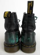 DR MARTENS Airwair Black & Green Distressed 6 Combat Boots Leather Unisex 8/9