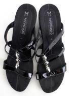 MEPHISTO Black Patent Leather CATARON Strappy Slip On Wedge Comfort Sandal Sz 42