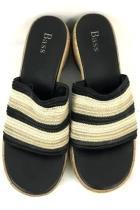 Womens Black Cream Stripe Cork Sandals BASS Slip On Size 11 B Jessika II