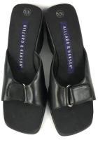 Womens Hillard & Hanson Black Leather Strap Open Toe Heel Wedge Size 5.5M