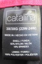 Womens Swim Suit By Catalina 1 Piece Black Pink Stripes 3X