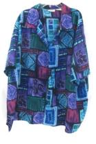 Liz Baker Blouse Short Sleeve Floral Multi-colored Pattern Womens Size 24W
