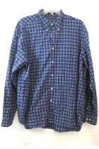 Dress Shirt by Eddie Bauer Blue & White Plaid Mens Size Large