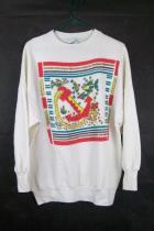 Moon Craft Womens White Fish & Anchor Nautical Sweatshirt Sweater Size Large