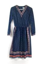 Lady Carol Petites Of New York Womens Blue Pink Bandanna Vintage Dress 10