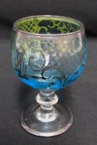 Vintage Clear Blue Miniature Demitasse Hand Painted Wine Glass Cup