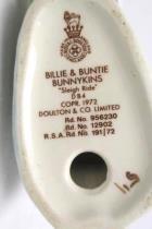 1972 Royal Doulton Billie & Buntie Bunnykins Sleigh Ride Collectible Figurine