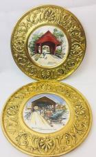 2 Wheeling Ceramic Plaques Of Covered Bridges VT and NH ~ Artist Sloane