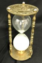 Vintage Solid Brass Engraved Zodiac Roman Numerals Timer Sand hourglass 9 Tall