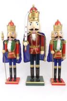 Trio Of Large Wooden Nutcracker Soldiers 25.5 And 21 Tall Red Green Blue Gold