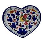 SAMBUCO MARIO Heart Shaped Ceramic Dish Plate Duruca Italy SONG BIRD Blue Trim