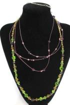 Lot of 2 Beaded Necklaces Layered Purple Blue Gold Tone Womens