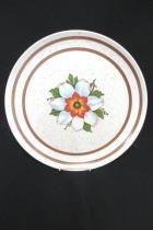 Set of 12 Vintage Melmac Gray Speckeled Floral Plates Pink Serving Bowl