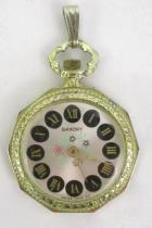 Vintage Saxony Wind-Up Swiss Made Necklace Pendant Pocket Watch Running