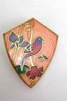 Vintage Cloisonné Clip On Earrings Guilloché Enamel Bird Tropical Flowers NEW