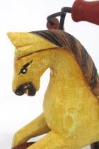 Vintage Wooden Rocking Horse Tricycle Wheels Iron Handles Stirrups Hair Tail