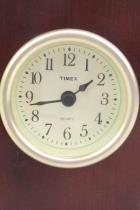 Timex Quartz Clock Wood Table Desk Top Mantel Running Made In China Battery