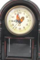 Vtg CLOCK ~Rooster Cock Antique Style Shelf Mantel Wooden Standing 15 Working