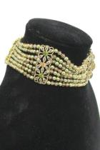 Monet Beaded Choker Necklace Gold Tone Floral Green and Amber Gemstones